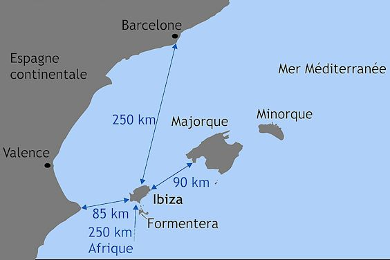 Distances Ibiza continent Majorque